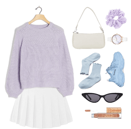 lilac blue school outfit