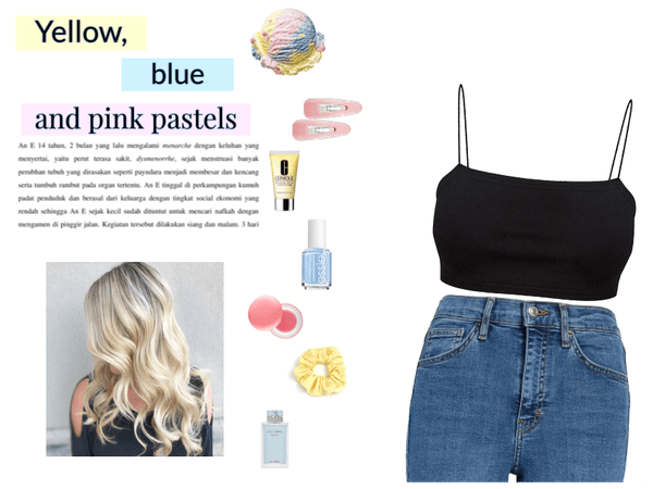 yellow blue and pink pastels