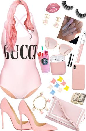 light pink baddie  at the pool💕💗