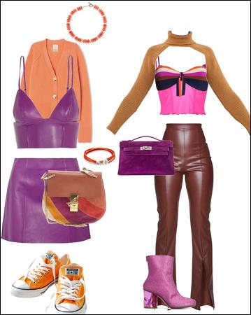 Fuscia  and orange sweater duo