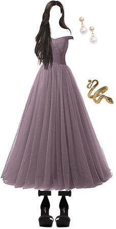 purple poofy prom dress