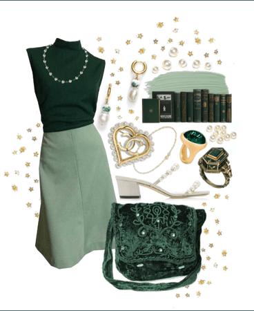 Green, Pearls, Gold, Velvet