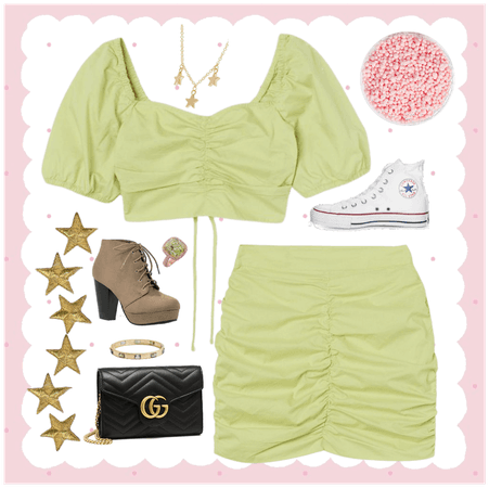 Green/Yellow top and skirt outfit (ruched)
