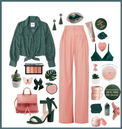 Peach + Pine Green