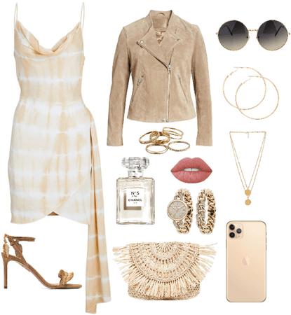 tie-dye beige dress