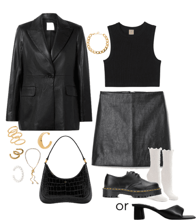 all black skirt outfit