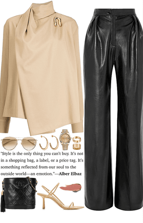 chic, natural & black leather outfit with gold jewelry