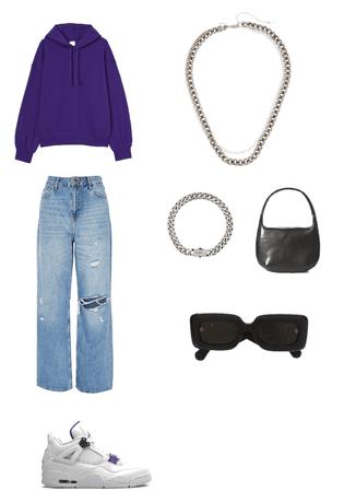 purple streetwear outfit