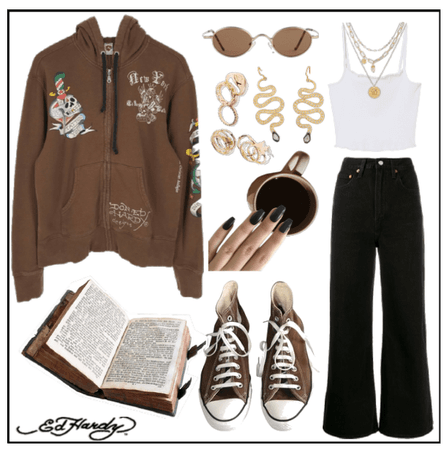 Ed Hardy Inspired Brown Outfit