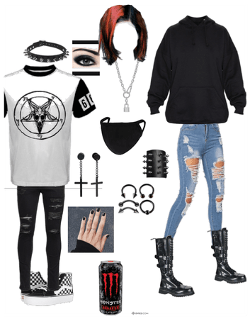 Emo . Gothic. Grunge. School outfit