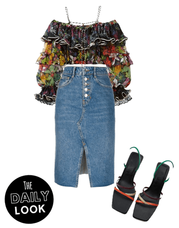 Blouse and jean skirt.