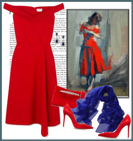 red dress portrait