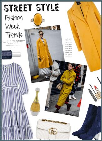 Street Style/Fashion week trend/Mustard coat