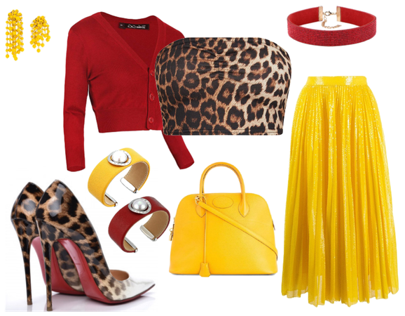 red yellow and leopard print