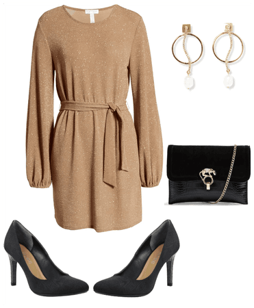 Holiday Outfit-Gold Dress