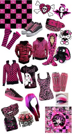 pink and black scene