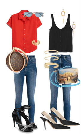 red and black with denim