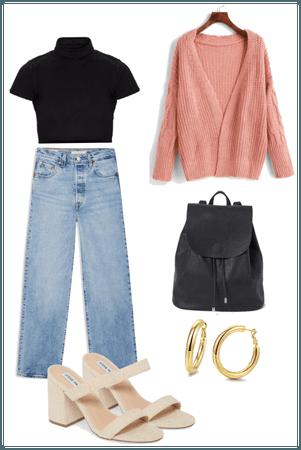 Pink cardigan & casual