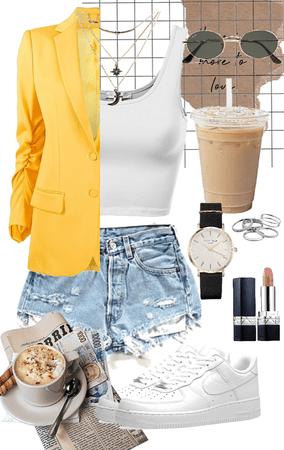 yellow blazer outfit idea