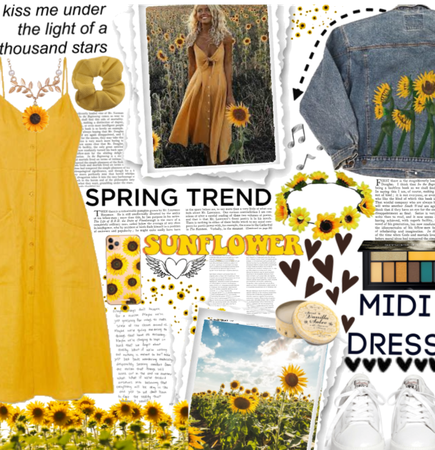 Spring Trend|Sunflower Midi Dress.