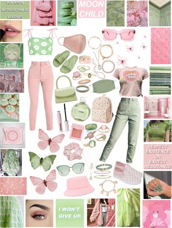 Pink and Green fit check comment if you like outfit 1 or 2 better