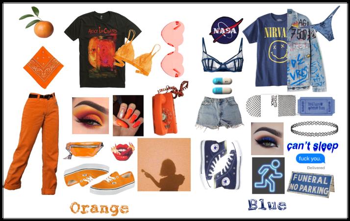 Orange & Blue Grunge Fashion