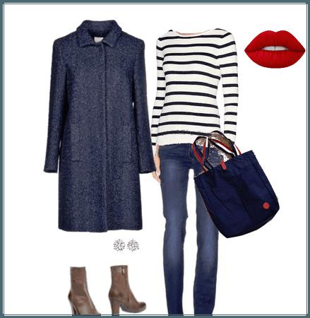 navy in jean and coat