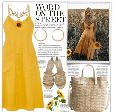 My Style: Yellow Midi Dress and Sunflowers 🌻