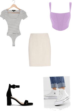 2 ways to wear a beige skirt