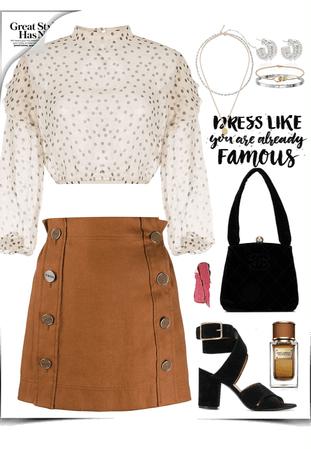 short, brown skirt & black velvet look
