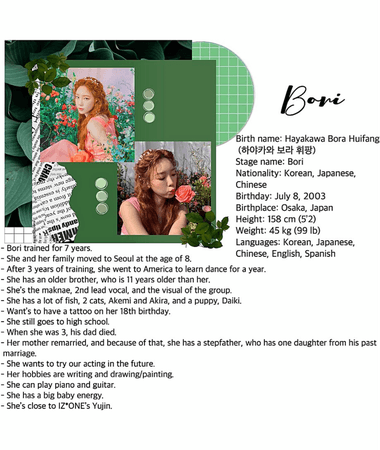 HEARTFLY's (하트플라이요) Bori's (보리) introducing profile.