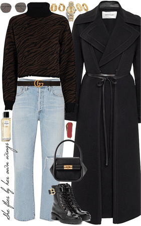 fall- winter outfit with gold jewelry