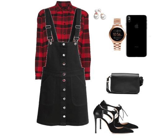 flannel&jumper dress