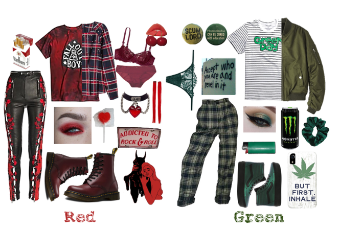 Red & Green Punk Fashion
