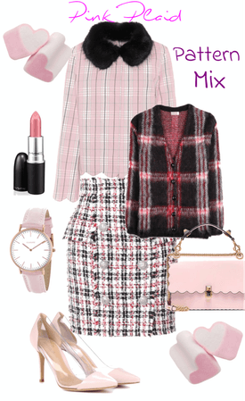 Pink Plaid Pattern Mix
