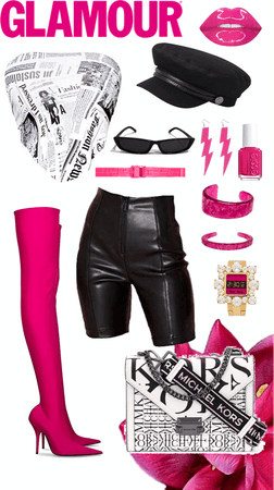 Hot Pink and News Print