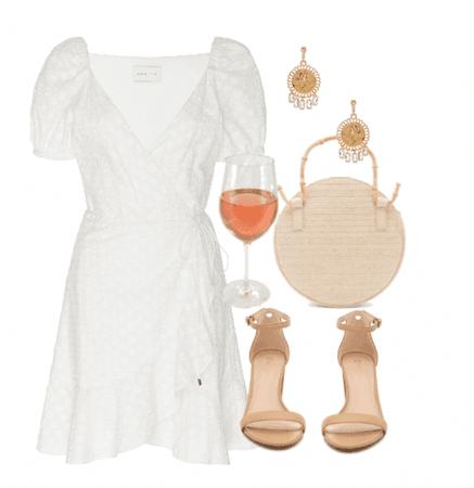 white sun dress rose glass