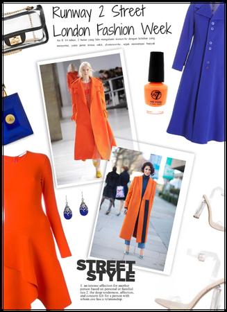 London Faahion week/Runway 2 street/Orange/Blue