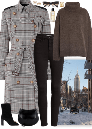 Outfit for a day in NY with a checked print coat
