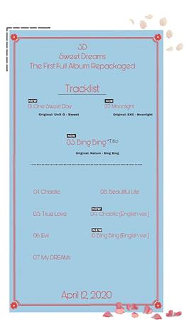 {3D}Album Repackaged- Sweet Dreams Tracklist