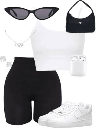 Black and white summer outfit🖤🤍