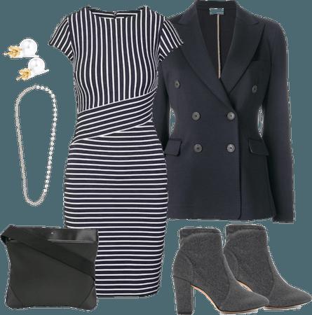 Striped Dress and Blazer