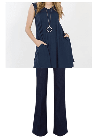 Navy [tunic] + Jeans
