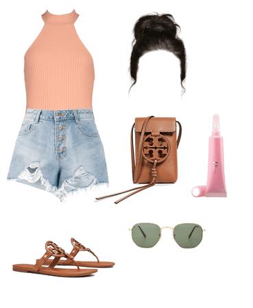 peach bodysuit denim shorts summer outfit