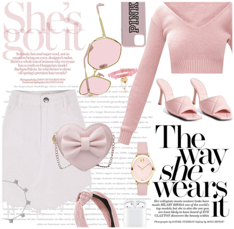 Pink jumper and white skirt