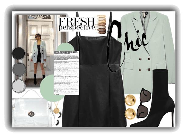 blazer mini dress and boots