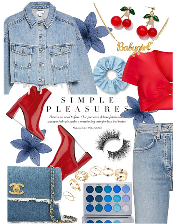 denim + red