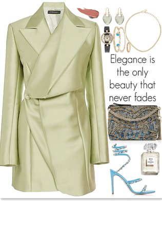 nice,light green blazer with blue details look
