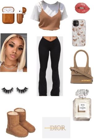 brown look👜🤎🤍🖤