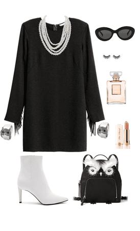 coco style / minimalist black and white / owl element